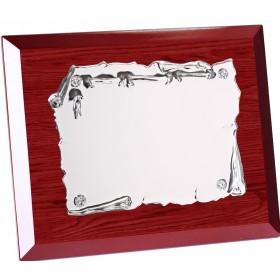 Placa homenaje madera