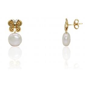 Pendientes mariposa y perla...