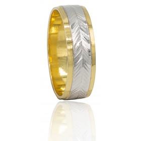 Alianza tallada bicolor oro...