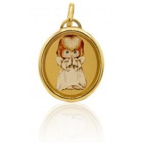 Medalla niña esmalte oro de...